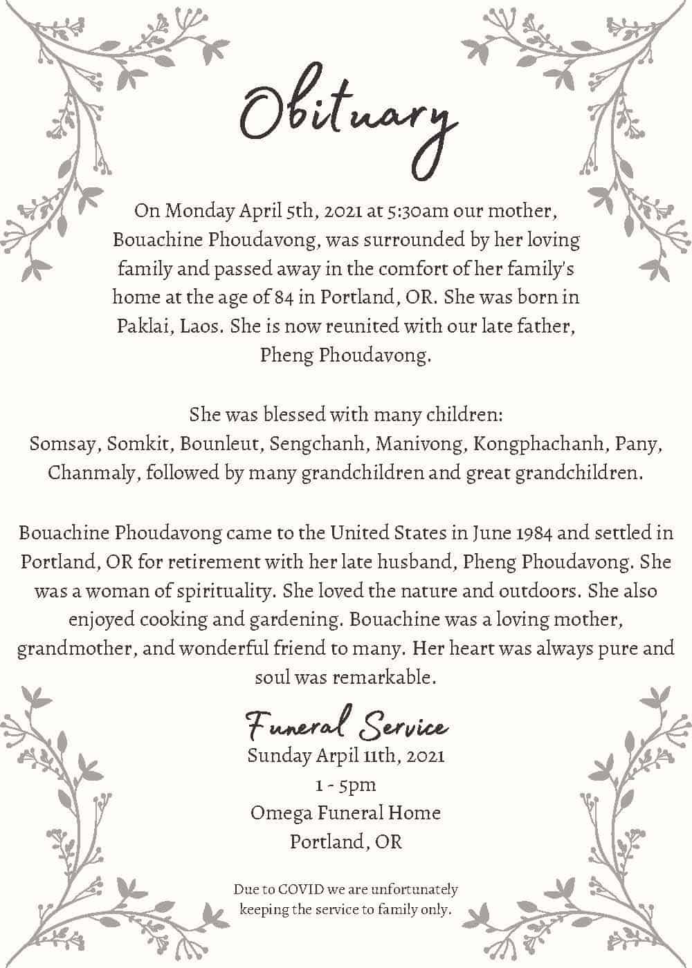 Pink Wreath Obituary Announcement